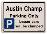 Austin Champ Car Owners Gift| New Parking only Sign | Metal face Brushed Aluminium Austin Champ Model